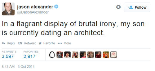irony,jason alexander,seinfeld,twitter,failbook,g rated