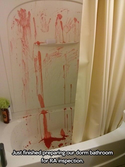 Blood college showers wtf - 8338644736