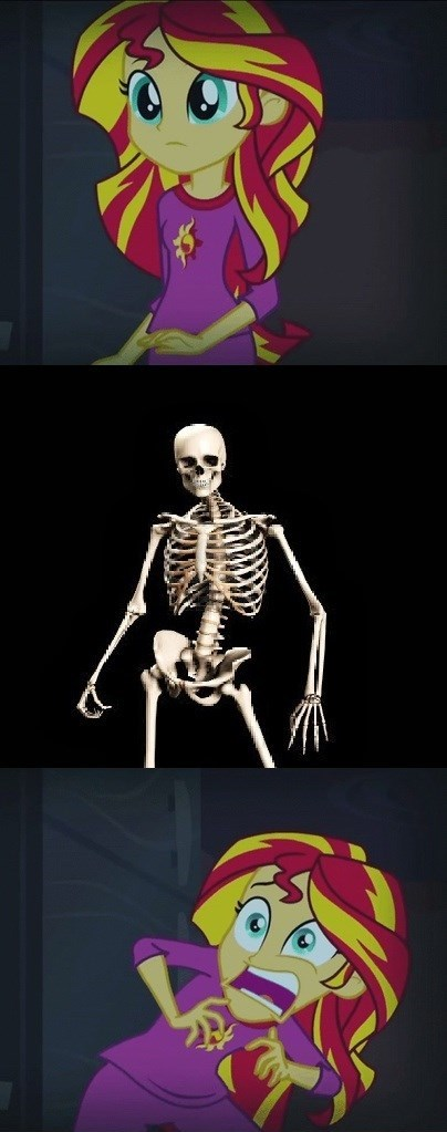 skeleton,spoopy sunset,sunset shimmer