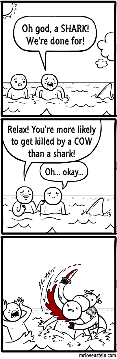 cows sharks sad but true web comics - 8339313152