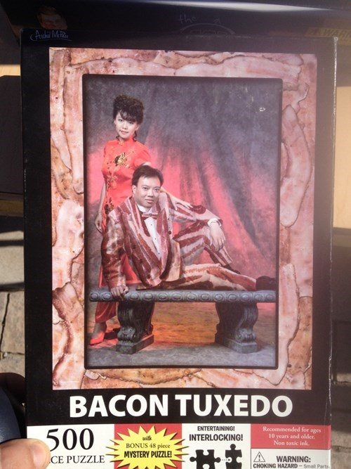 tuxedo puzzle poorly dressed bacon