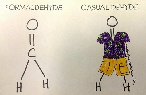 Chemistry,formaldehyde,funny,science,puns,g rated,School of FAIL