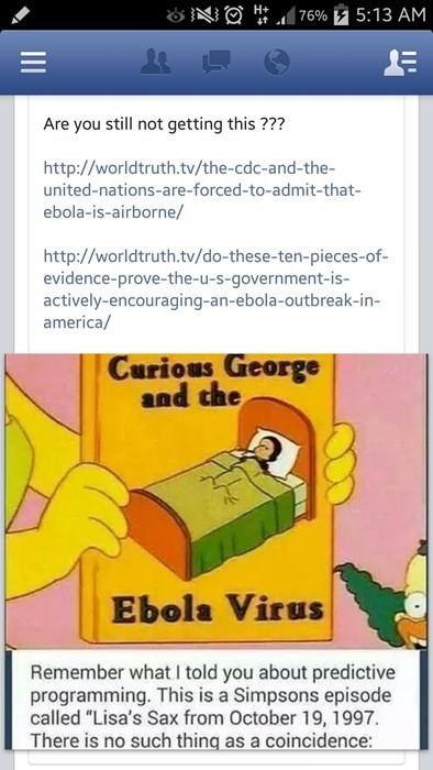conspiracy facepalm ebola the simpsons failbook - 8340089344