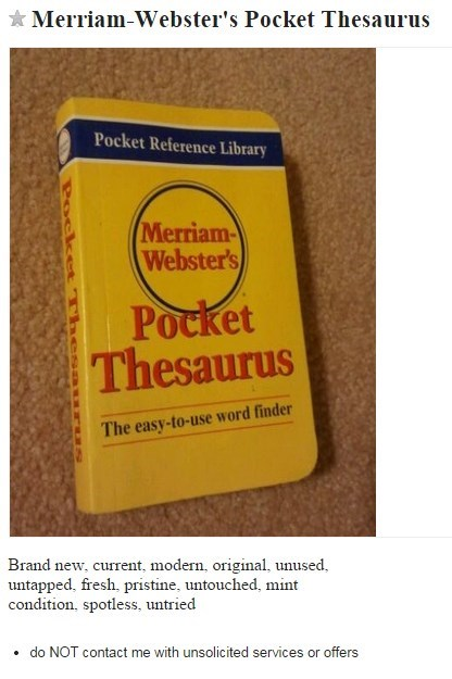 clever,craigslist,for sale,thesaurus