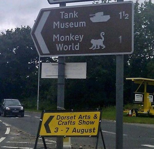 bad idea,juxtaposition,sign,monkey,tank,g rated,win