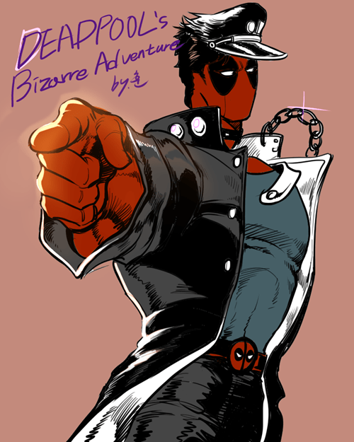 anime crossover Fan Art deadpool JoJo's Bizarre Adventure - 8340251648
