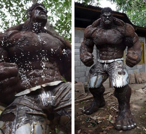 The Incredible Hulk Made Out of Scrap Metal and Car Parts