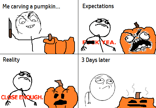 expectations vs reality jack o lanterns halloween pumpkins