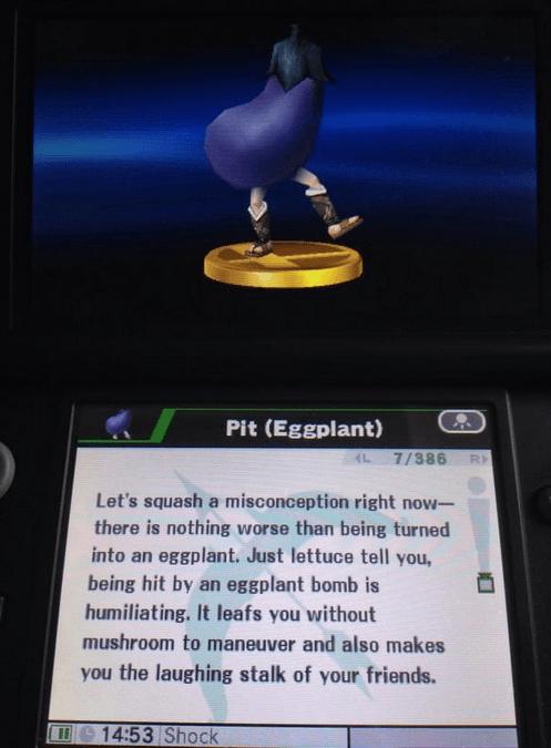 eggplant nintendo puns super smash bros pit - 8340785408