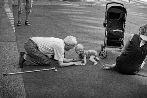 baby playing grandparents parenting