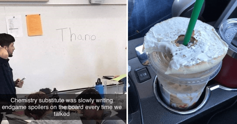 Funny moments, clever moments, moments of genius, smart memes, silly memes | Thano Chemistry substitute slowly writing endgame spoilers on board every time talked. half a donut placed on top of a Starbucks cup with the straw going through the hole in the middle