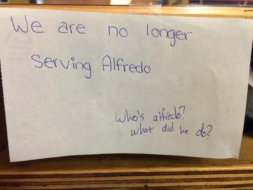 monday thru friday,sign,alfredo,restaurant
