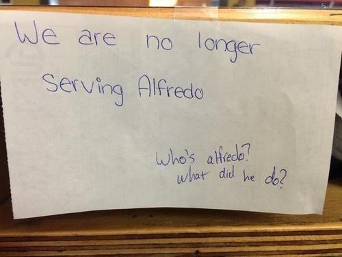monday thru friday sign alfredo restaurant - 8341569280