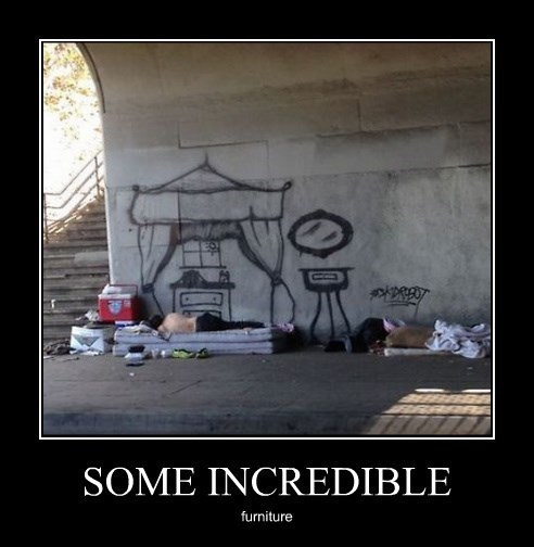 furniture,funny,graffiti,homeless