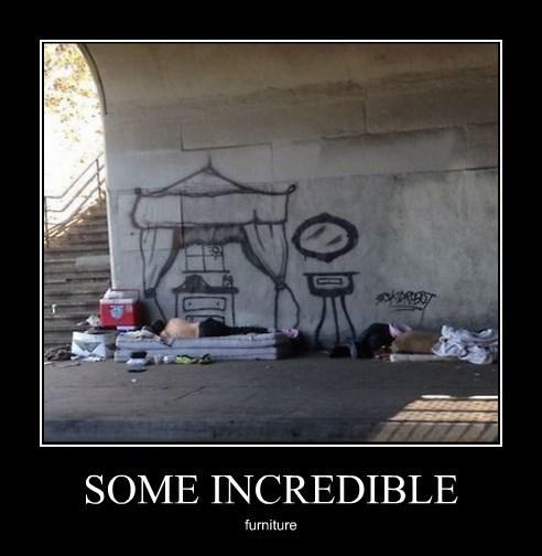 furniture funny graffiti homeless - 8341669888