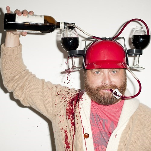 funny helmet wine Zach Galifianakis
