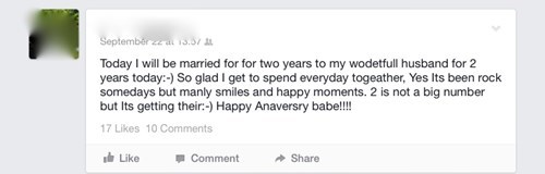 anniversary,grammar,marriage,spelling