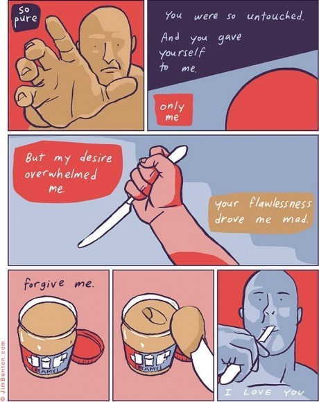knives,peanut butter,temptation,pleasure,web comics