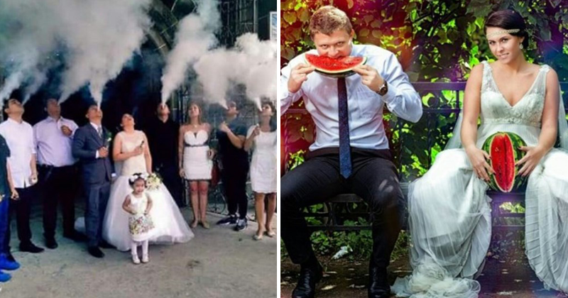 Cringey wedding photos, wedding cringe, wedding photography, marriage.