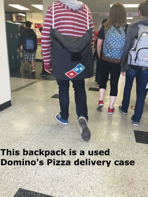 backpack,dominos,school,poorly dressed
