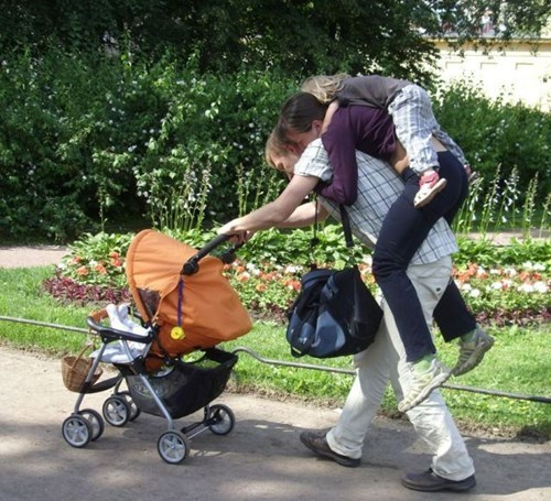 dad kids parenting stroller piggyback g rated - 8343741952