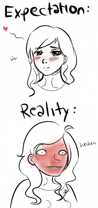 blushing,expectation vs reality,embarassed