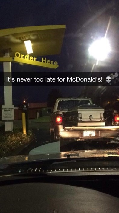 snapchat,drive thru,coffin,morbid,fast food
