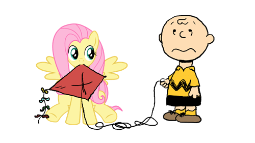 charlie brown fluttershy tree kite - 8344951296