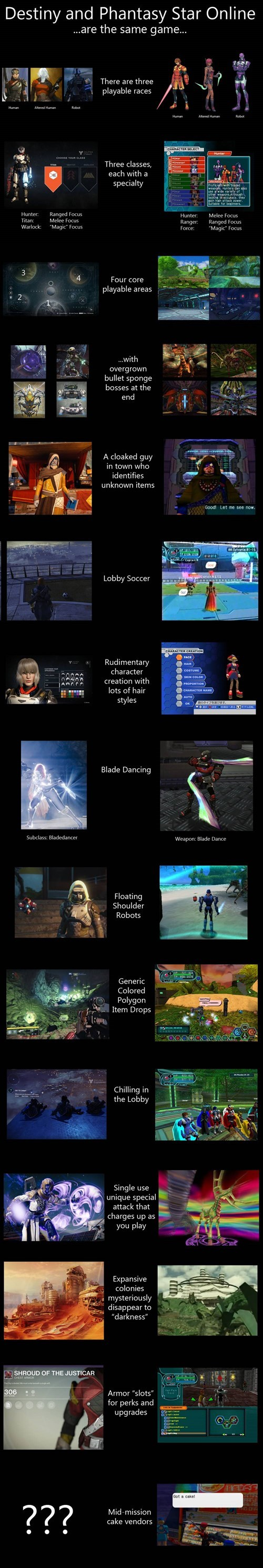 destiny gaming similarities phantasy star online - 8345465344