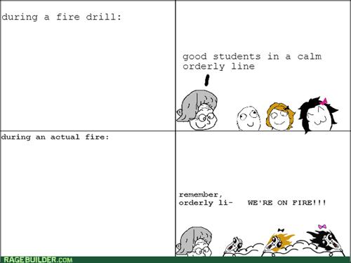 chaos,fire drill,school