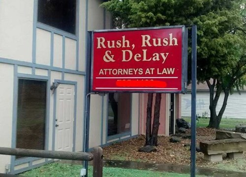 business name lawyer monday thru friday sign g rated - 8346568448