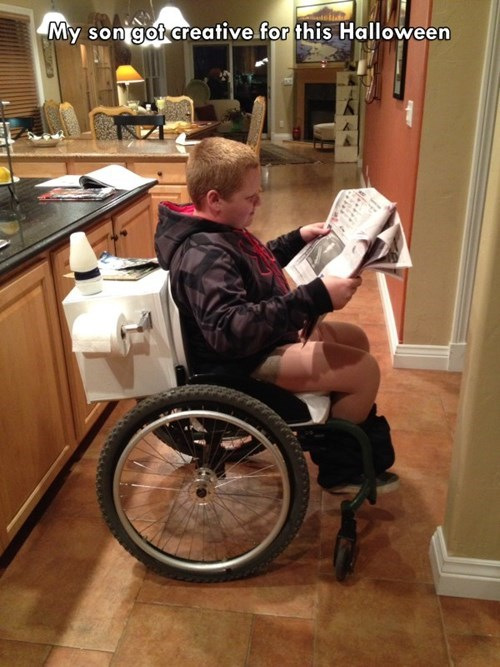 costume,halloween,kids,toilet,parenting,wheelchair