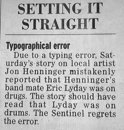 drugs headline newspaper Music whoops typo - 8346804992