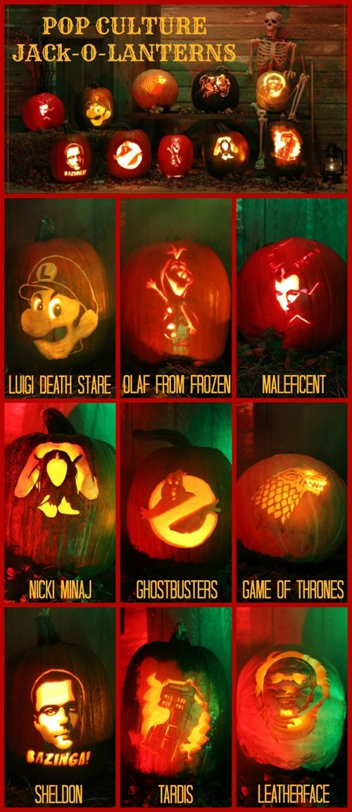 pumpkins,halloween,Game of Thrones,guardians of the galaxy,Ghostbusters,doctor who,the big bang theory,Maleficent,luigi,pumpkin carving,nicki minaj,frozen,nintendo