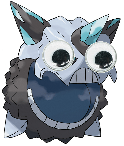 video games geek Pokémon mega evolutions mega glalie googly eyes derp