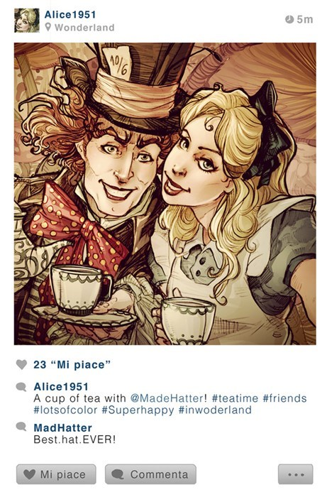 "Cartoon - Alice1951 5m Wonderland 23 ""Mi piace"" Alice1951 A cup of tea with @MadeHatter! #teatime #friends #lotsofcolor #Superhappy #inwoderland MadHatter Best.hat.EVER! Mi piace Commenta"