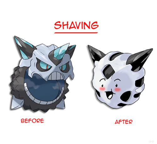 glalie Pokémon shaving mega glalie Before And After - 8347635200