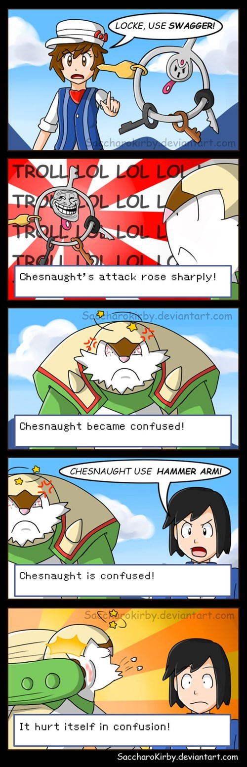 klefki,Pokémon,battling,swagger,troll face,web comics,chesnaught