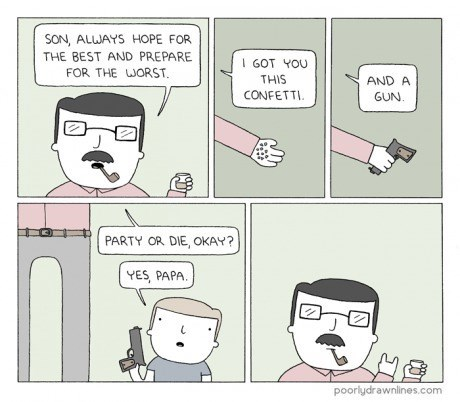 guns,dads,parenting,confetti,Party,web comics