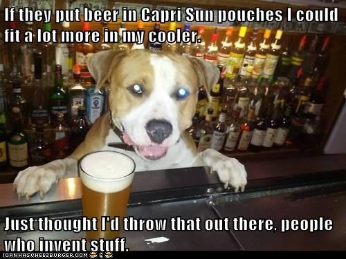 animals ergonomic beer dogs capri sun