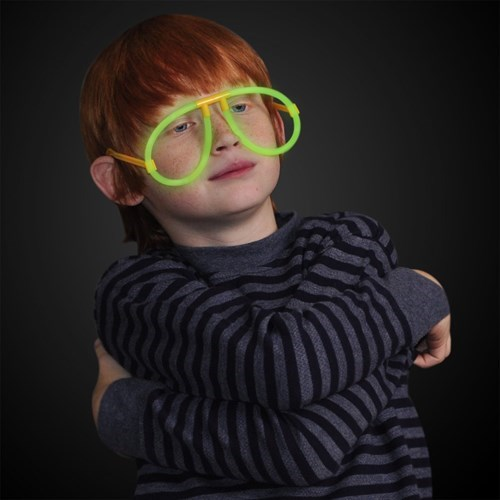 glow sticks,poorly dressed,glasses,redhead
