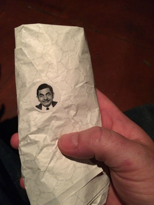 monday thru friday,sticker,burrito,mr bean,restaurant,mr bean,mr bean