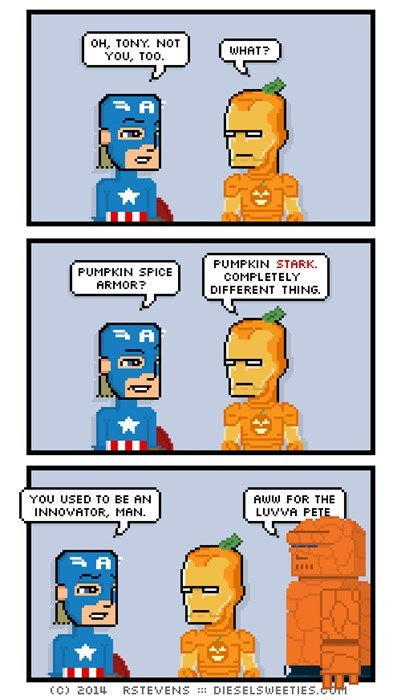 pumpkin spice,iron man,captain america