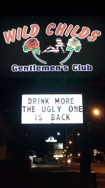 monday thru friday,sign,strip club