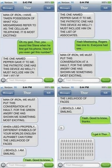 Thor,superheroes,texting,failbook