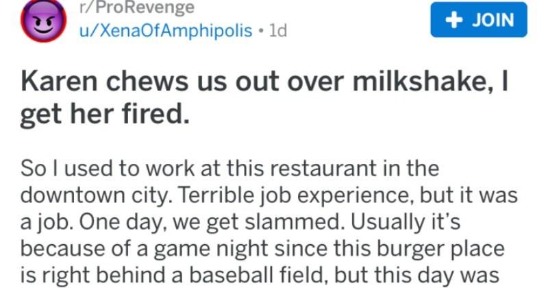 revenge over a milkshake