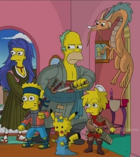 crossover anime the simpsons - 8353343744