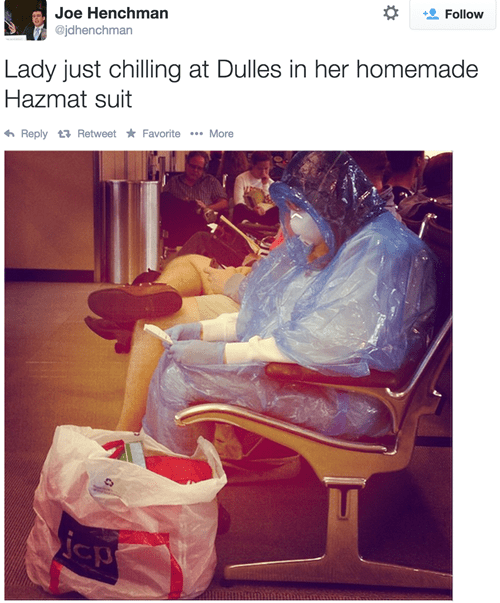 twitter poorly dressed airport hazmat suit ebola DIY g rated - 8353842176