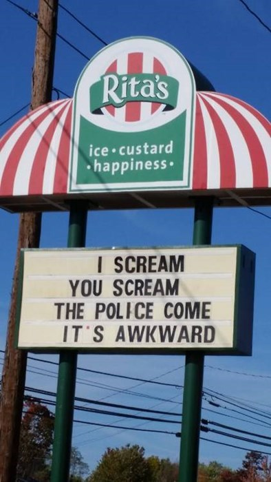 business signs,ice cream,police