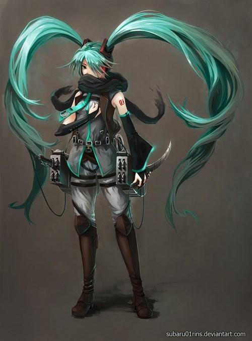 crossover anime Fan Art attack on titan vocaloid - 8354289920